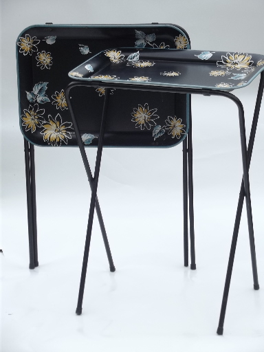 vintage tin tray tv tables folding snack tables w mod. Black Bedroom Furniture Sets. Home Design Ideas
