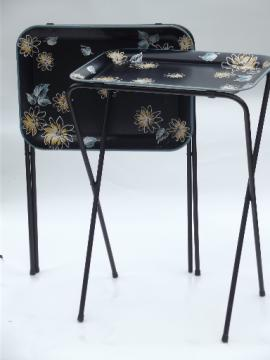 Vintage tin tray TV tables, folding snack tables w/ mod flowers on black