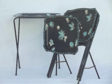 Vintage tin tray TV tables, folding snack tables w/ retro leaf print