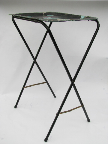 Vintage tole metal folding TV tray tables, mod leaf print