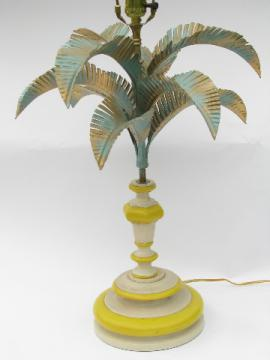 Vintage tole metal table lamp, tropical palm tree, retro beach!