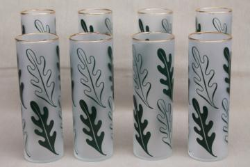 Vintage tom collins glasses, tall frosted glass tumblers w/ oak leaves print