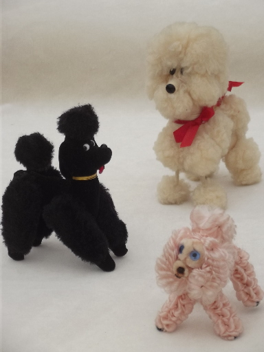 Vintage Toy Poodles Kitschy French Poodle Pet Dolls In Fluffy Fur