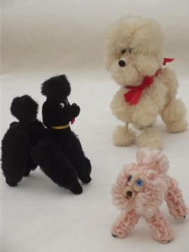 Vintage toy poodles, kitschy french poodle pet dolls in fluffy fur & pink chenille
