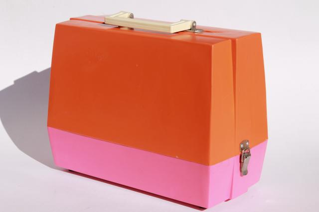 vintage toy sewing machine retro pink & orange plastic case, not working nice for parts or display