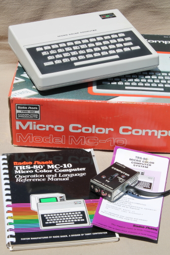 Vintage TRS-80 Micro Color Computer model MC-10, early 80s  Tandy PC  w/ manual & TV adapter