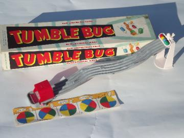 Vintage Tumble Bug game, plastic board game complete in original box