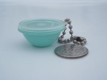 Vintage Tupperware key chain charm, miniature green bowl