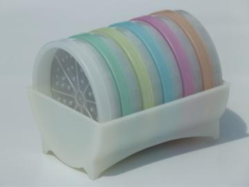 Vintage Tupperware pastels, set never used pastel plastic coasters in rack