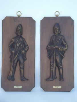Vintage Turner wall art plaques, 1776 Redcoats british soldiers