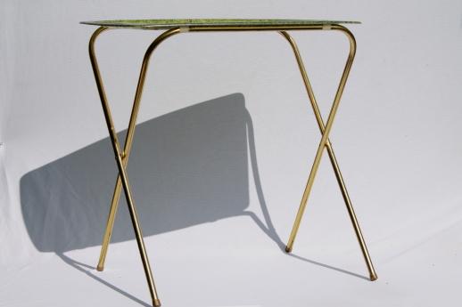 Vintage TV Table Tray Table Set, Folding Tables W/ Retro Fiberglass Trays