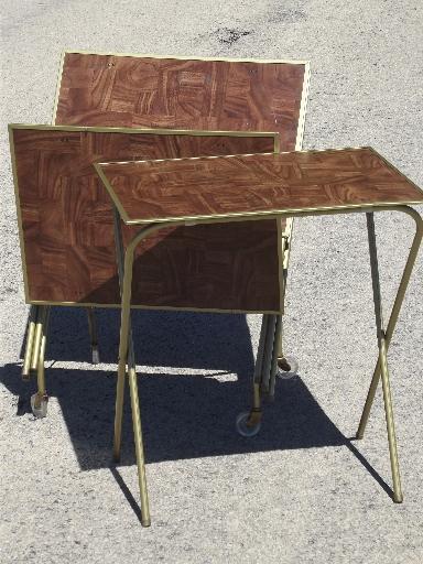 vintage tv trays table set mid century retro folding tray tables. Black Bedroom Furniture Sets. Home Design Ideas