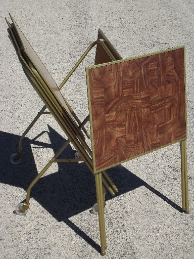 Awesome Vintage TV Trays Table Set, Mid Century Retro Folding Tray Tables