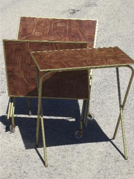 Vintage TV trays table set, mid-century retro folding tray tables