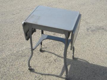 Vintage typewriter table, industrial metal desk, typewriter stand cart