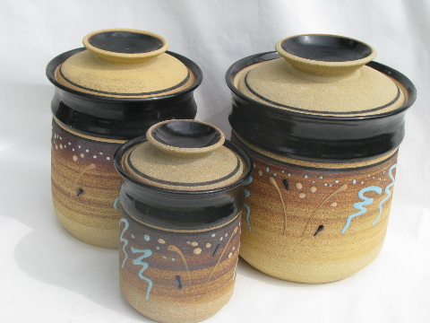 Exceptional Vintage Unglazed Stoneware Pottery Kitchen Canisters, Retro Earth Colors