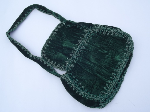 Vintage velvet handbag purse made in Italy, retro 50s 60s emerald green