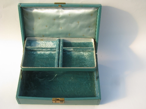 Vintage velvet lined jewelry boxes blush pink and teal faux leather