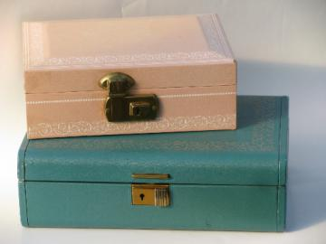 Vintage velvet lined jewelry boxes, blush pink and teal faux leather