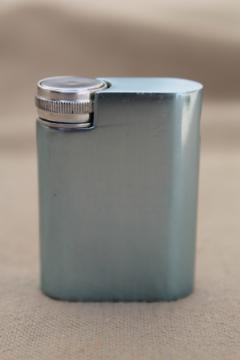 Vintage Vendome atomizer, mid-century mod ice blue & silver brushed metal perfume