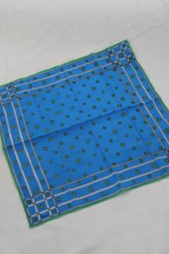 Vintage Vera print scarf, square scarf w/ blue & green foulard print Vera Neumann