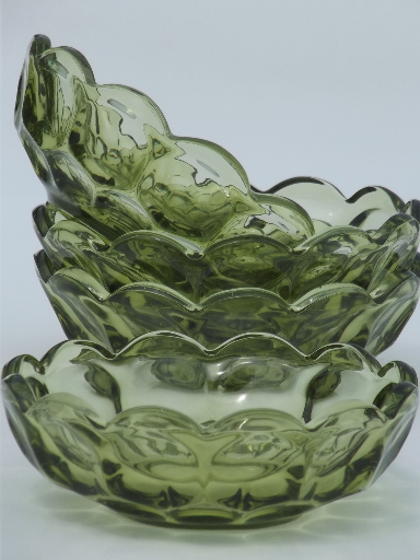 Vintage verde green whirlpool / provincial pattern glass bowls