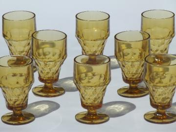 Vintage Viking Georgian amber glass footed tumblers,  iced tea glasses set