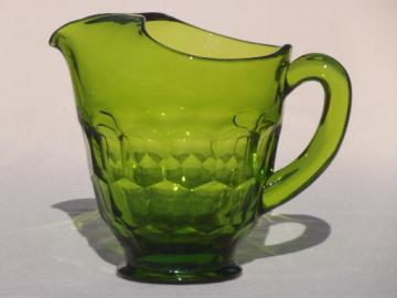 Vintage Viking Georgian lime green glass pitcher, 70s retro!