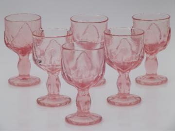 Vintage Viking glass lotus leaf pebble leaves wine glasses rose pink goblets