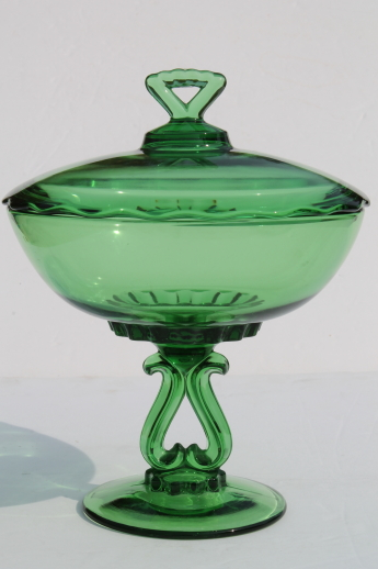 Vintage Viking Glass Princess Pattern Compote Large Green
