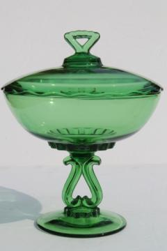 Vintage Viking glass Princess pattern compote, large green glass bowl w/ lid