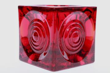 Vintage Viking glass ruby red candle holder, mod bullseye circles on square cube