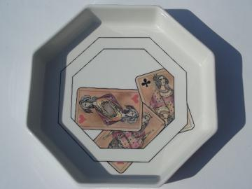 Vintage Villeroy and Boch octagon china bowl w/ antique playing cards