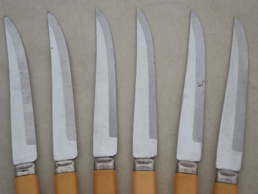 Vintage W. Richardson Forever Sharp steak knives set, Sheffield stainless