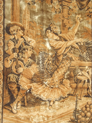 Vintage wall hanging, old velvet tapestry w/ Spanish dancers, Italy?