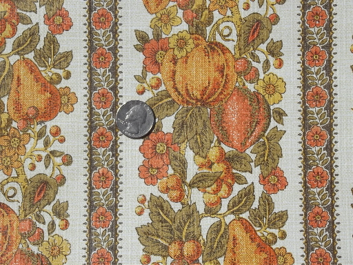 Vintage wallpaper lot, retro 70s fruit print paper in orange & harvest gold