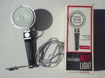 Vintage Wards movie camera light, retro twin beam spot & flood light
