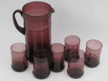 Vintage West Virginia amethyst glass pitcher and tumblers, bamboo etch