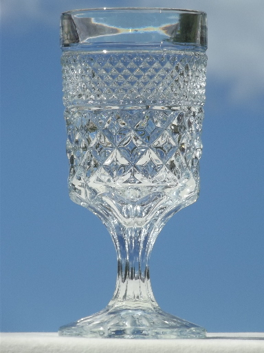 Vintage Wexford Waffle Pattern Pressed Glass Water Goblets
