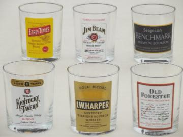 Vintage whiskey label glasses, set of french glass bar glasses w/ whisky labels