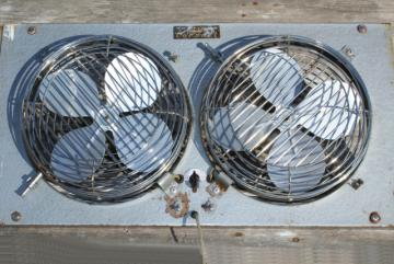 vintage window fan, adjustable w/ dual reversible fans industrial gray paint
