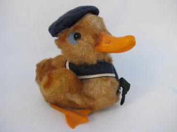 Vintage wind-up toy, waddling duck in sailor suit, cute for Easter!