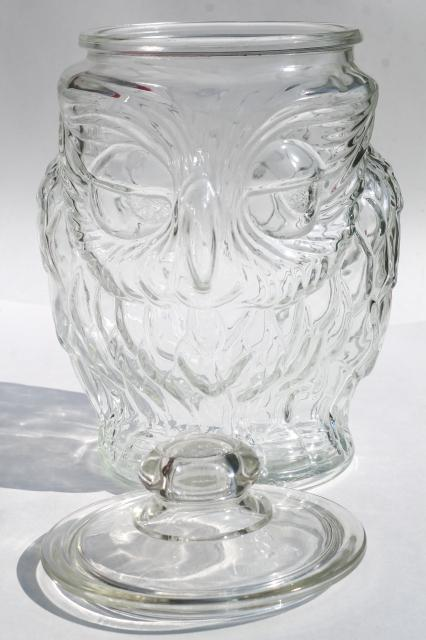 vintage wise old owl Libbey clear glass gallon canister, cookie jar w/ lid