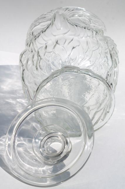 Vintage Wise Old Owl Libbey Clear Glass Gallon Canister