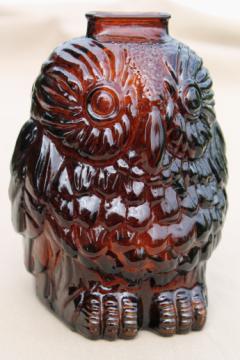 Vintage Wise Old Owl bank, retro root beer brown glass owl savings jar