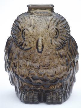 Vintage Wise Old Owl bank, retro smoke brown glass owl savings jar