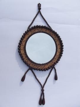 Vintage wood bead frame wall mirror w/ tassel, boho gypsy retro hippie style!
