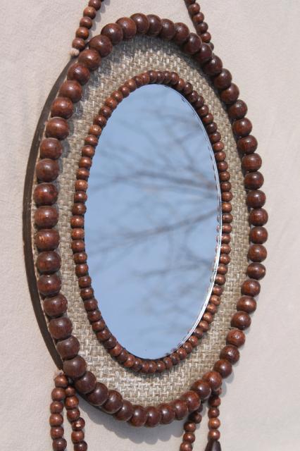 Vintage Wood Bead Frame Wall Mirror W Tassel Boho Gypsy