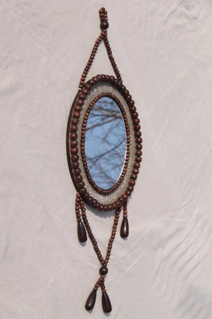 Vintage wood bead frame wall mirror w tassel boho gypsy for Long hanging mirror