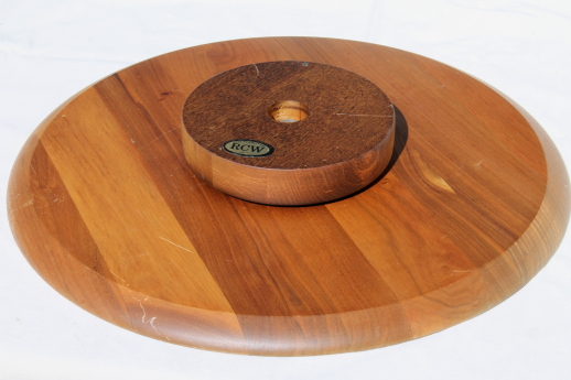Vintage Wood Board Lazy Susan Server, Cedar Plank Serving Platter Turntable  Tray